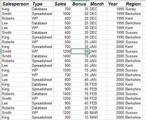 Pivot table raw data