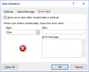data validation error alert