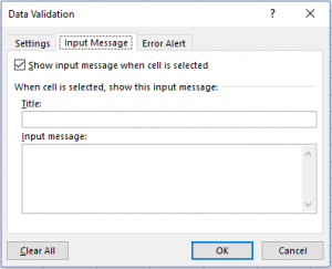 data validation input message