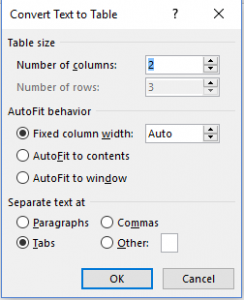 Image of Convert Text to Table