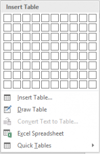 Image showing the different options when inserting a table into Word