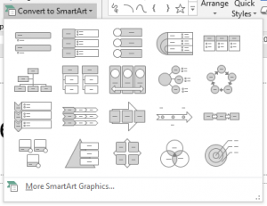 Image to show SmartArt graphic options