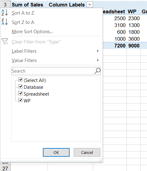 Image to show filter by column
