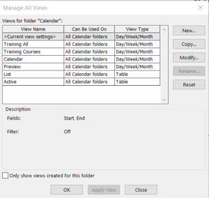 Image of manage view dialogue box