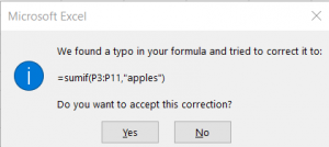 Image of Automatic correction Excel Calculation
