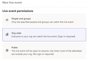Image of Live event permissions