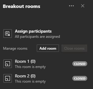 Breakout Rooms pane in Microsoft Teams