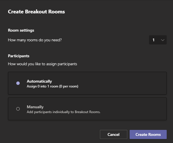 Image showing the create breakout rooms on Microsoft Teams