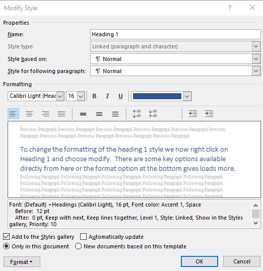 Modifying Style of Headings in Microsoft Word
