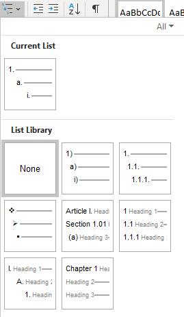 Multilevel numbering in Microsoft Word