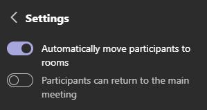 Microsoft Teams Breakout rooms settings