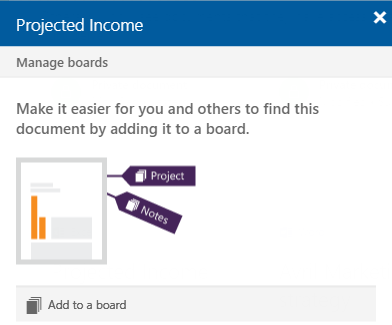 Image showing a file being added to a Board in Microsoft Delve