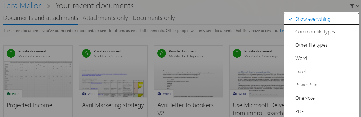 Image of Microsoft Delve Filter feature in use.