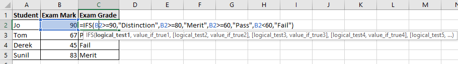 Image to show the IFS function in use on Excel