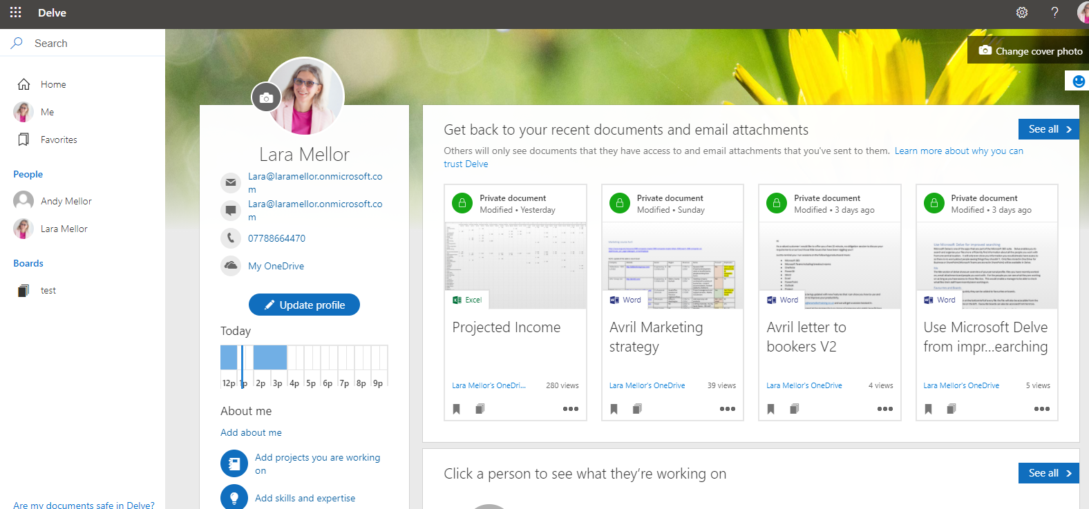 Image showing Microsoft Delve Me Overview