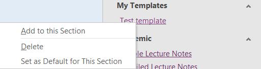 Delete page template in OneNote