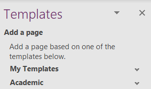 My templates in OneNote