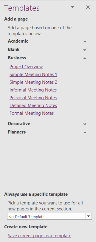 Templates pane in OneNote