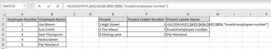 Example of XLOOKUP Function in Excel