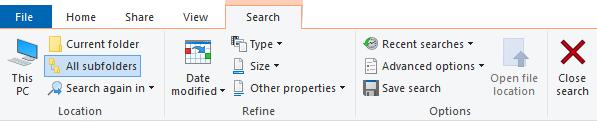 Search Tab in File Explorer