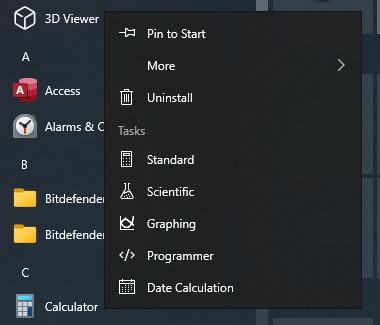 Pin to Start in Windows 10