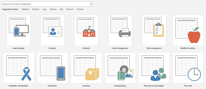 Microsoft Access templates
