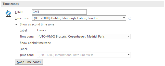 Add a 2nd timezone to Outlook