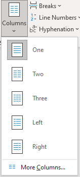 Column options in Word