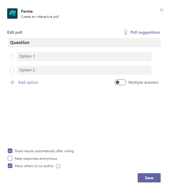 Forms dialog in Microsoft Teams
