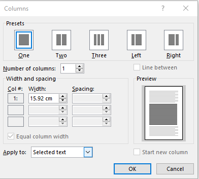 More Column Options in Word